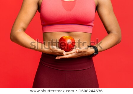 Healthy body african american woman and red apple stock photo © darrinhenry