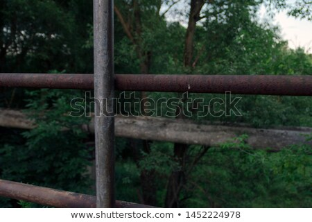 Green steel bridge railing Stock photo © bobkeenan