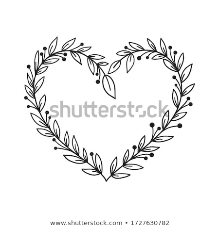 中心 · 花輪 · 小枝 · 装飾された · 赤いバラ - ストックフォト © marinini