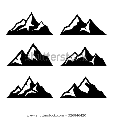 Сток-фото: Hill Or Mountain Icons Isolated On White