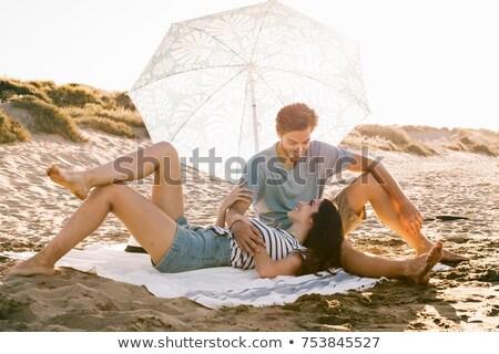 Stock fotó: Pár · homok · portré · hát · női · vakáció