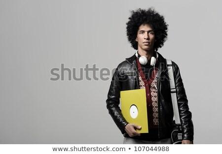 若い男 ビニール ディスク 白 音楽 手 ストックフォト © utorro