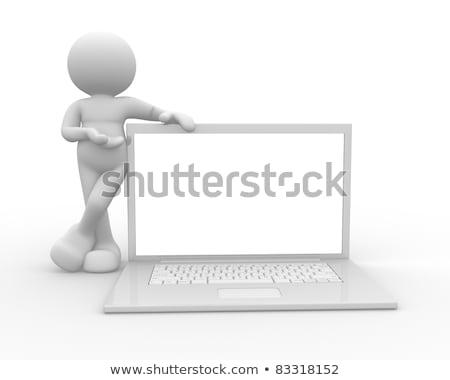 3d человек пустая страница компьютер генерируется изображение рук Сток-фото © blotty