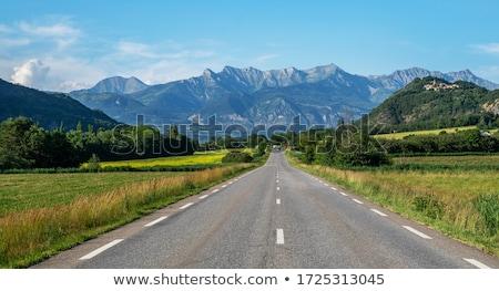ストックフォト: 新鮮な · 緑 · 道路 · 青 · 曇った · 空