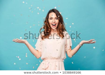 sorprendido · jóvenes · feliz · mujer · blanco · azul - foto stock © CandyboxPhoto