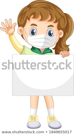 banner · feliz · jóvenes · mujer · blanco · fondo - foto stock © broker