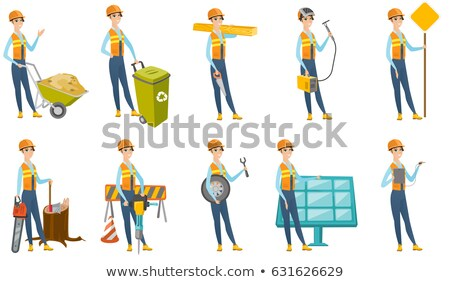 electrician holding road sign stock photo © photography33