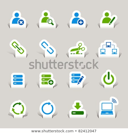 medios · de · comunicación · social · botón · aislado · blanco · ordenador · Internet - foto stock © tashatuvango