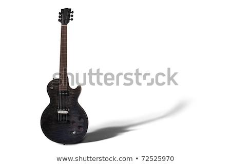 черный · электрической · гитаре · изолированный · белый · древесины · моста - Сток-фото © rtimages