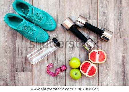 Fitnessz felszerlés középkorú nő nők egészség testmozgás Stock fotó © Photoline