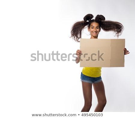 tímido · jovem · morena · menina · retrato · belo - foto stock © lithian