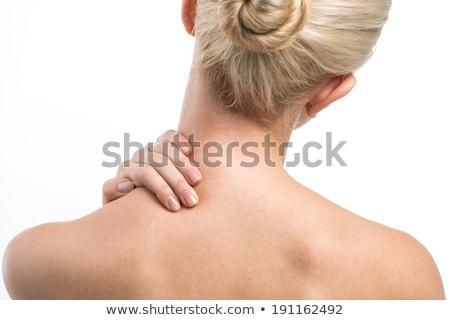 loiro · menina · pescoço · dor · massagem · ajudar - foto stock © photography33