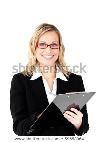 Tolakodó elegáns üzletasszony visel szemüveg fehér Stock fotó © wavebreak_media