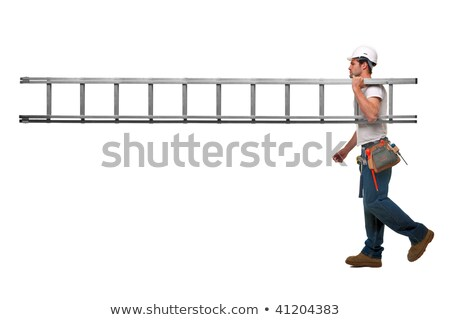 carpenter carrying ladder isolated on white stock photo © photography33