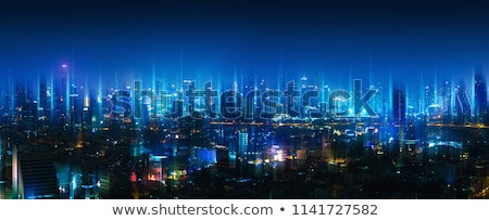 panorama of night city   thailand bangkok stock photo © pzaxe