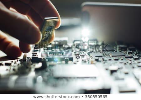 Stok fotoğraf: Bilgisayarlar · elektronik · ayarlamak · siyah · beyaz · simgeler · bilgisayar