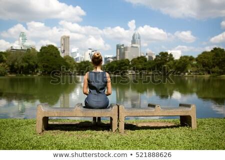 Mulher de negócios pensando Central Park New York City jovem feminino Foto stock © Maridav