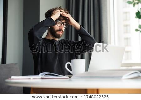 man · kantoor · aan · huis · naar · computer - stockfoto © wavebreak_media