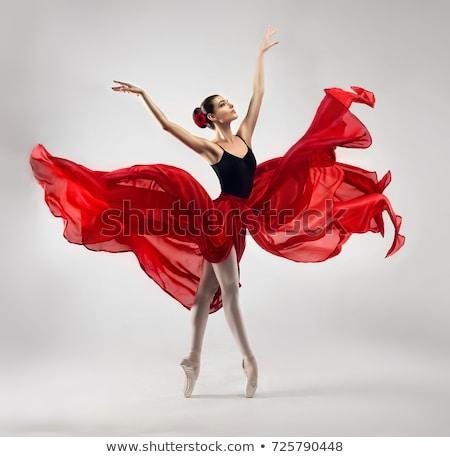 Gyönyörű balett-táncos portré táncos piros póló Stock fotó © ssuaphoto