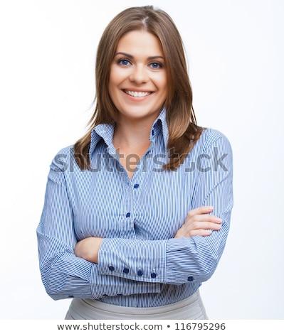 Portret brunette zakenvrouw gevouwen armen witte Stockfoto © wavebreak_media