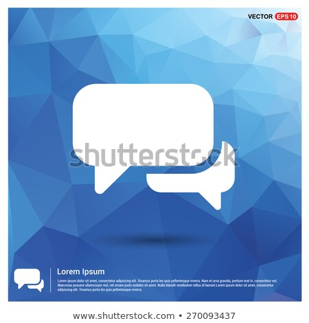 chat with speech bubbles sign in blue hexagon button Stock photo © marinini