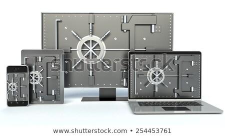 3d · ilustracji · informacji · bezpieczeństwa · laptop · zamek · szyfrowy · komputera - zdjęcia stock © kolobsek
