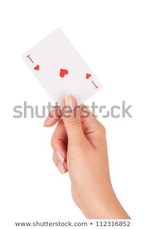 ász szívek nő kéz fiatal üzletasszony Stock fotó © kyolshin