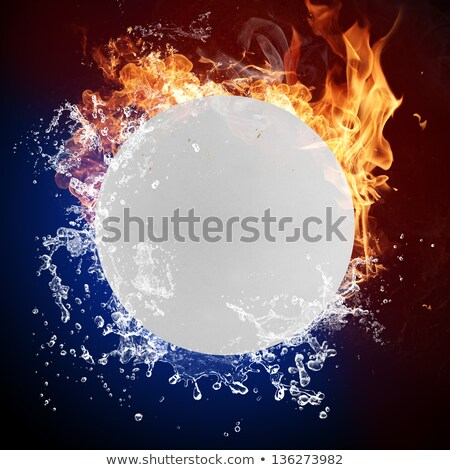 Ping pong ball in fire flames and splashing water Stock photo © Kesu