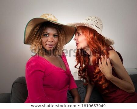 Belle femme noir chapeau bijoux Photo stock © lunamarina