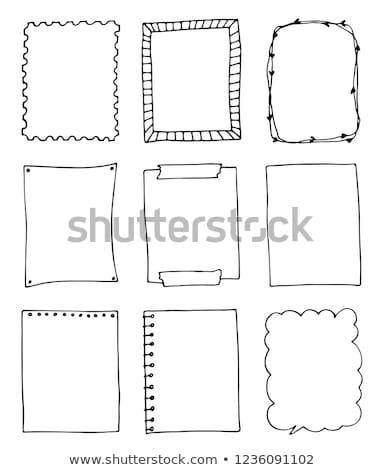 doodle · frames · vector · hout · zwart · en · wit - stockfoto © Allegro