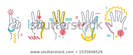 colorful and abstract icons for number 4 set 4 stock photo © cidepix
