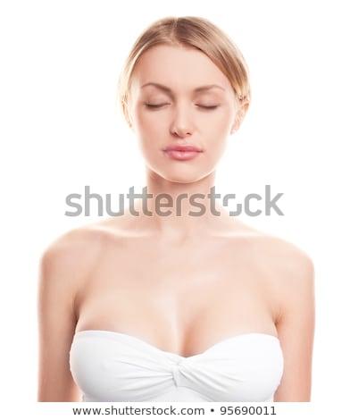blond · meisje · portret · grote · borsten · aantrekkelijk · glamour - stockfoto © fotoduki