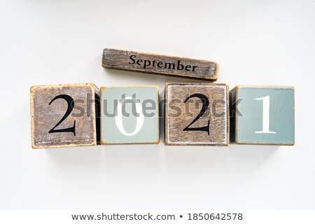 september in 3d wooden cubes Stock photo © marinini