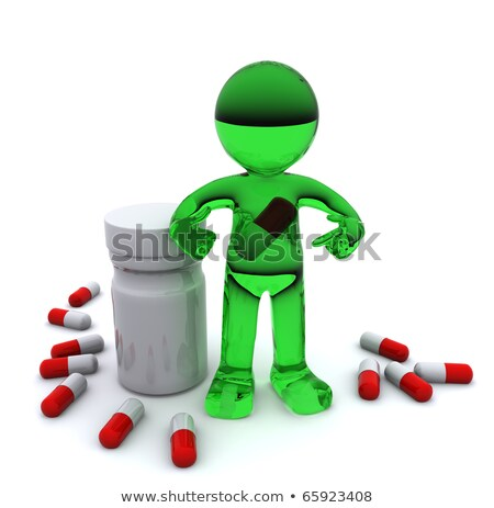 3d character with pill inside stomach stock photo © kirill_m