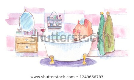 little girl with brush in paint tub Stock photo © gewoldi