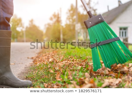 Autumn clearing - besom and a pile of leaves Stock photo © adamr