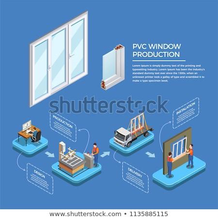 plastique · fenêtre · profile · isolé · blanche · croix - photo stock © mady70