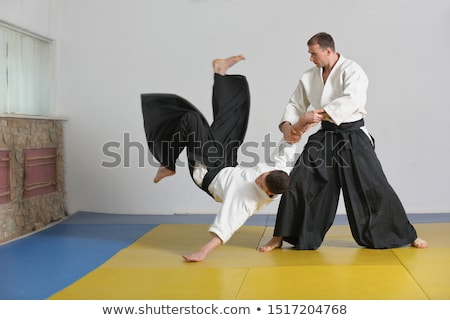 Aikido siluet adam kırmızı ayak insan Stok fotoğraf © adrenalina