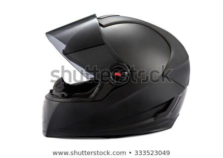 Zwarte glanzend motorfiets helm omhoog racing Stockfoto © Kor