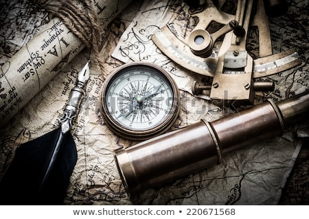 Sextant on the old map Stock photo © Nejron