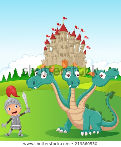 Three little prince and fairy tale castle, vector illustration Stock photo © carodi