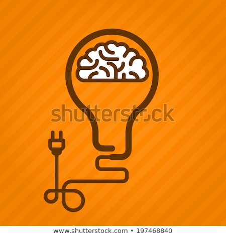 Symbolic light bulb with brain inside and electric plug Stock photo © Winner