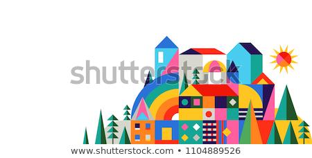湖 · 家 · 画像 · 現代 · 住宅の · 木 - ストックフォト © carodi