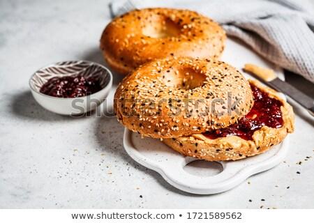 Fresh bagel with jam Stock photo © raphotos