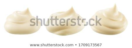 Foto stock: Mayonesa · madera · fondo · petróleo · crema · tazón