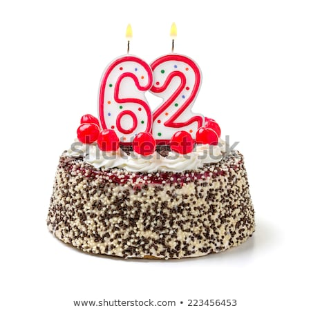 Birthday cake with burning candle number 62 Stock photo © Zerbor