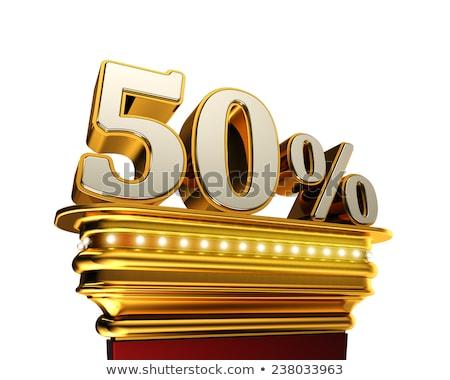 Cinqüenta por cento descobrir branco dourado Foto stock © creisinger