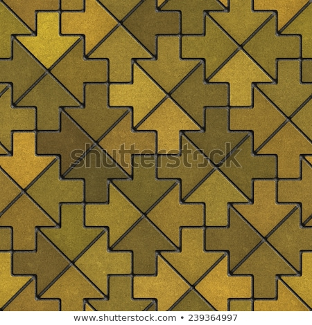 mosaic paving slabs as arrow in yellow mustard tones stock photo © tashatuvango
