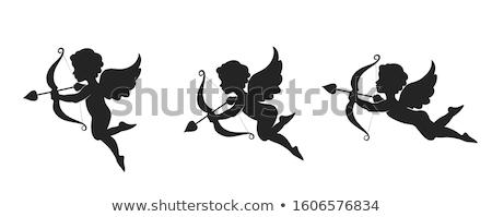 Cherub zestaw czarny wektora Zdjęcia stock © derocz