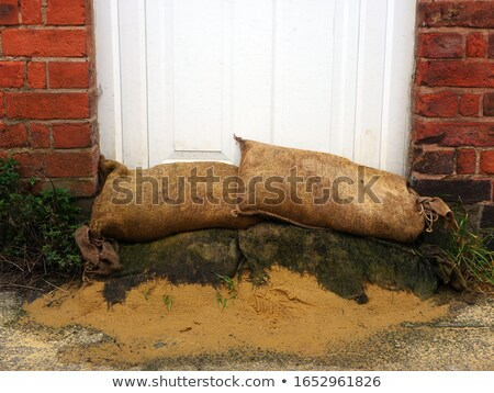 Flood protection sandbags front of the door Stock photo © Juhku